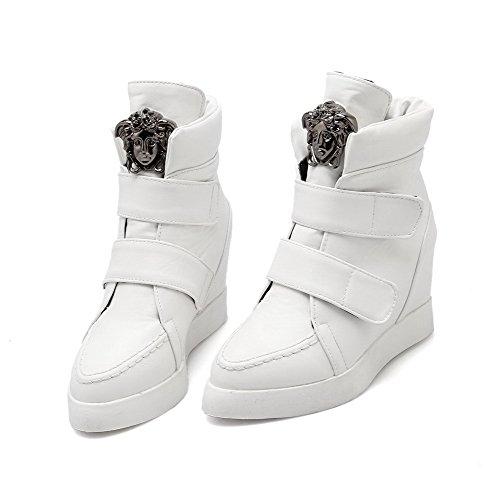 AllhqFashion Mujeres Caña Baja Sólido Velcro Puntera Redonda Cuña Botas con Metal Blanco