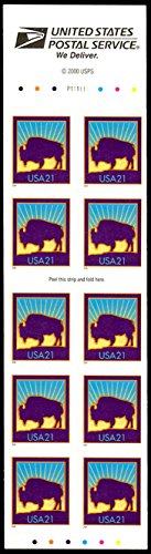 2001 American Buffalo Full Booklet Pane of 10 x 21 Cent Stamps Scott 3484d