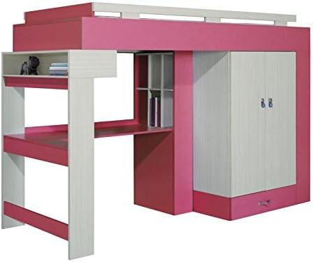 Cama alta con armario, estante y Escritorio Felipe 15, color rosa – Color Blanco – Superficie: 90 – 200 cm: Amazon.es: Bricolaje y herramientas