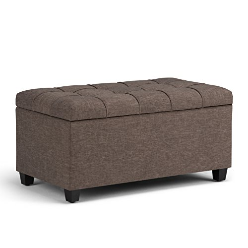 Simpli Home AXCOT-258-BRL Sienna 34 inch Wide Traditional  Storage Ottoman in Fawn Brown Linen Look Fabric Brown Multi Function Fabric