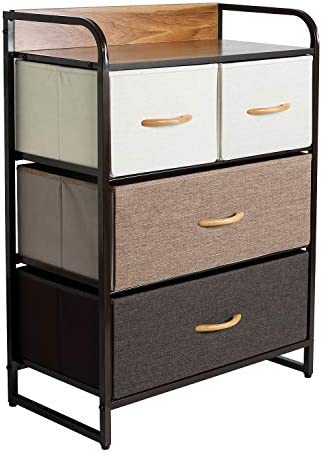 eclife Dresser Organizer Drawer Storage Organizer Home Dresser Fabric Dresser Storage Tower Removable Drawers Non-Woven Fabric, Organizer Unit for Bedroom, Hallway, Entryway, Closets 4 Drawers