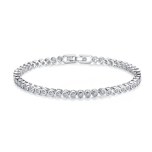 - CZ Tennis Bracelets for Women - Never Hook Clothes Women Bracelets 18K Rhodium Plated Round Cut Bezel Setting,Girl Gifts