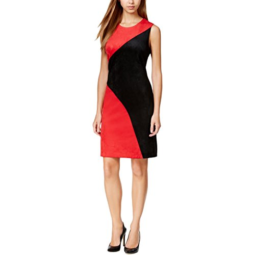 Calvin Klein Women's Colorblock Faux-Suede Sheath Dress (6, Black/Red)