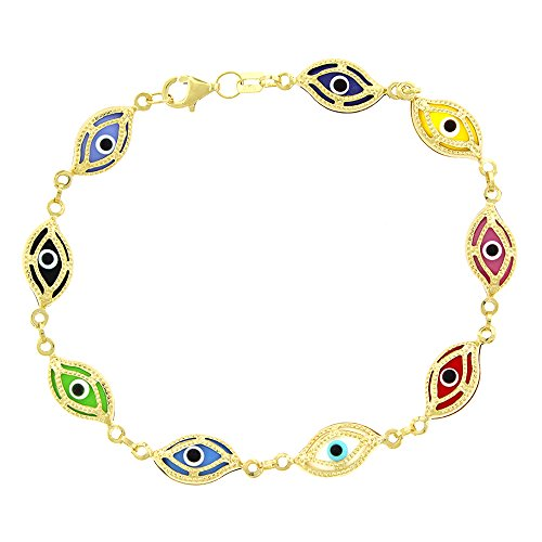 14k Yellow Gold Womens 7mm Clear Multi-Color Evil Eye Good Luck Charm Bracelet Chain 7.5'' by In Style Designz