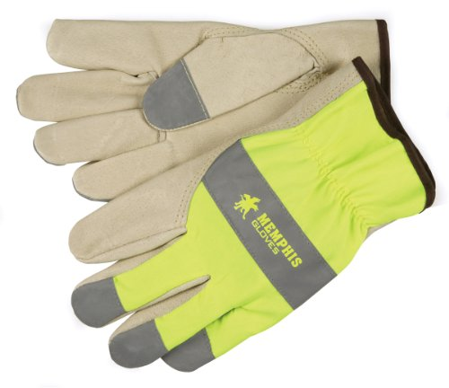 MCR Safety 3407XL Grain Pigskin Driver Select Grade Gloves with Keystone Thumb and Silver Fingertips, Cream/Lime, X-Large, 1-Pair