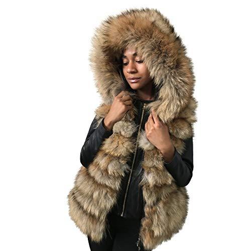 Vest Hood jacket coat made of natural fox fur