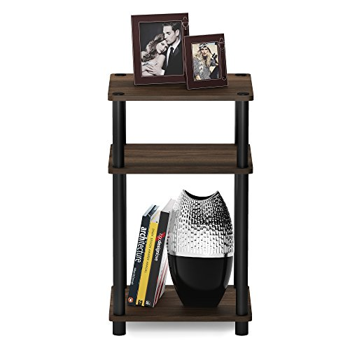 FURINNO Just 3-Tier End Table, 1-Pack, Columbia Walnut/Black