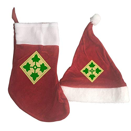 US Army 4th Infantry Division Santa Hat & Christmas Stocking Holiday Christmas Decorations Party Accessory -