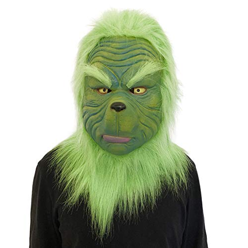 Mintu Cosplay Grinch Mask with Santa hat Shoes Gloves Costume Suit for Christmas Melting Face Latex Prop Scary Toy ()