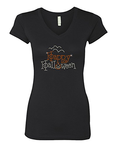 Happy Halloween Rhinestone Bling Stud Women's V-Neck T-Shirts Tee (Womens Halloween Bling Shirts)