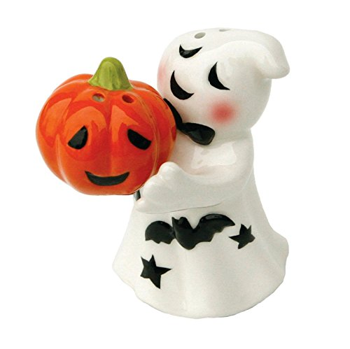 Halloween Ghost and Jack O Lantern Magnetic Salt and Pepper Shaker Set