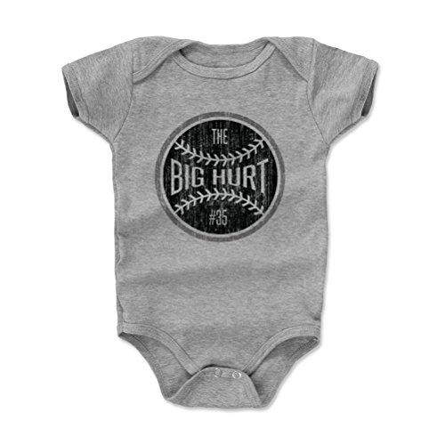 (500 LEVEL Frank Thomas Baby Clothes, Onesie, Creeper, Bodysuit 3-6 Months Heather Gray - Vintage Chicago Baseball Baby Clothes - Frank Thomas Big Hurt Ball K)
