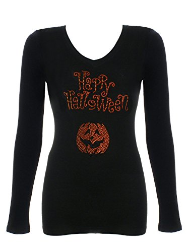 Women's Halloween Bling Bling Rhinestone V-Neck T-Shirt (Womens Halloween Bling Shirts)