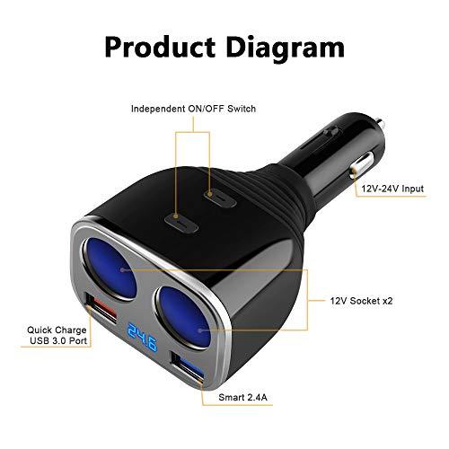 41xO OEpwBL amazon com smart car charge, opluz 80w 2 socket cigarette lighter