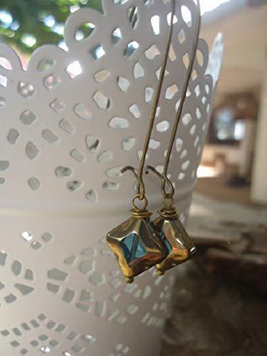 ★ ALTES TÜRKISES GLAS ★ bronze vintage Ohrringe