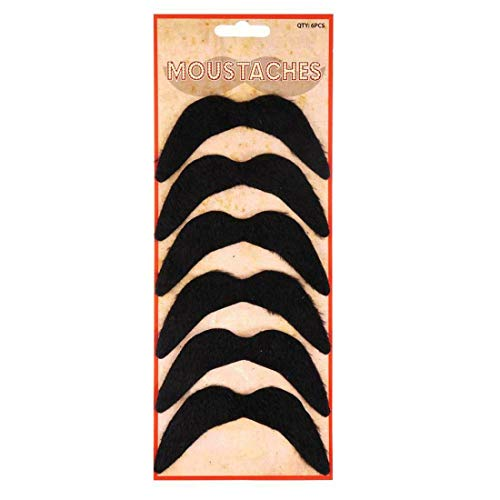 Fake Mexican Black Moustaches 70s Self Adhesive Stick on Moustaches Pack of 6#(I/F)(Mexican Black Moustaches#One Size(Pack Of 6)#Unisex) (Best Mexican Restaurant Ues)