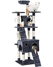 LANGRIA Arbre à Chat Griffoir Grand pour 3-4 Chats avec Hamac Confortable Plateformes d'Observation 2 Condos et 10 Troncs à Griffer en Sisal pour Jouer Griffer Grimper et Dormir (173 cm Hauteur, Gris)