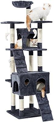 LANGRIA Rascador para Gatos Árbol 173 cm Alto Casa para Mascotas ...