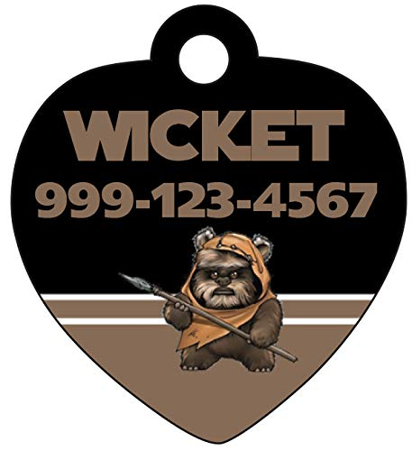 uDesignUSA Disney Star Wars Ewok Custom Pet Id Tag for Dogs & Cats Personalized w/Name & Number -