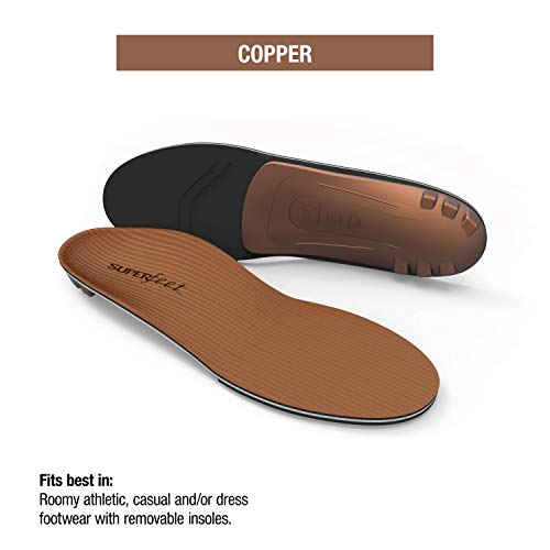 Superfeet COPPER, Memory Foam Comfort Orthotic Insoles, Unisex, Copper, X-Large/12.5+ Wmns/11.5-13 Mens by Superfeet