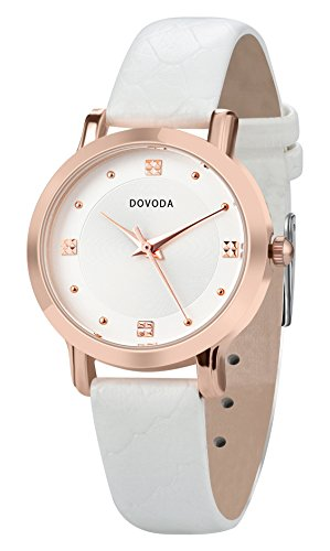 Face Leather Strap Watch - DOVODA Ladies Watches Quartz Analog Simple Dress Casual Watch for Women Rose Gold Small Face Dial White Leather Strap