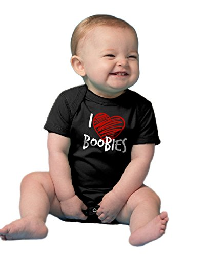 "Ann Arbor T-shirt Co. Unisex Baby ""I Heart Boobies"" Funny Infant One Piece"