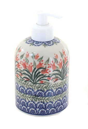 (Blue Rose Polish Pottery Spring Tulip Soap Dispenser)
