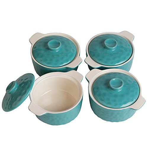 Bakeware Set, Krokori 8oz Mini Casserole Soufflé Dish Ramekins for Cooking, Kitchen, Cake Dinner, Banquet and Daily Use - (Random Color, 4-Pieces of Mini Round)