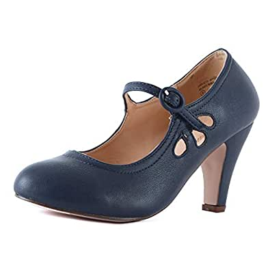 Guilty Heart Womens Mary Jane Chunky Heel Pumps - Comfortable Mid Kitten Heel Shoe with Ankle Strap Blue Size: 5.5