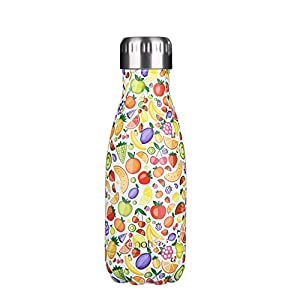 """anature"" Stainless Steel Water Bottle,Double Wall Vacuum Insulation,Cola Shaped for Kids,Ladies,Business Convenience,Small Size,9oz,Fruit Family"