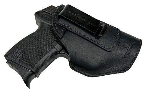 Relentless Tactical The Defender Leather IWB Holster - Made in USA - Fits Glock 42 | Ruger LC9, LC9s | Kahr CM9, MK9, P9 | Kel-Tec PF9, PF11 | Kimber Solo Carry - Black Right Handed