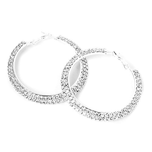 - Beautiful Bead 1 Pair of Glamorous Dual Row Multi Rhinestones Embedded Wedding Dangle Pendant Hoop Earrings Bridal Jewelry