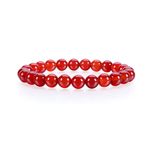 (Cherry Tree Collection Gemstone Beaded Stretch Bracelet 8mm Round Beads | Small (Red Agate - Deep Orange))