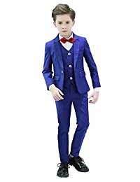 Iyan Boys One Button Blue Suits 5 Piece Slim Fit Suit for Boys