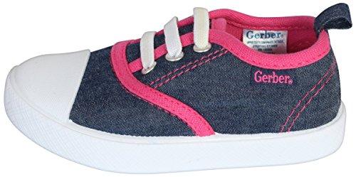 Gerber Baby Rubbersole Early Walker Slip On Sneakers (Infant/Toddler), Denim/Pink, 5 M US Toddler' by Gerber (Image #1)