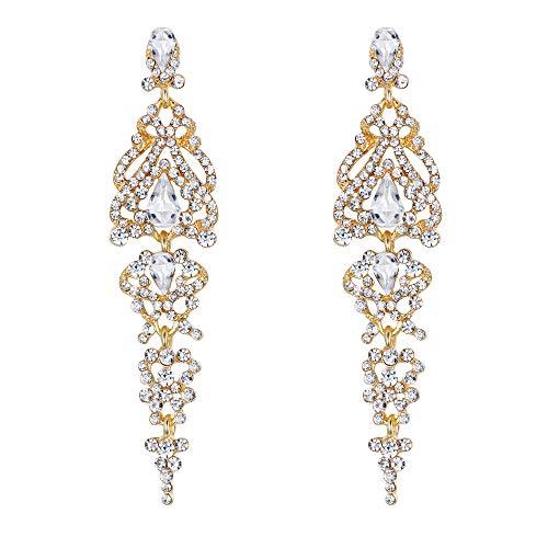 - BriLove Wedding Bridal Dangle Earrings for Women Crystal Cluster Teardrop Earrings Clear Gold-Toned