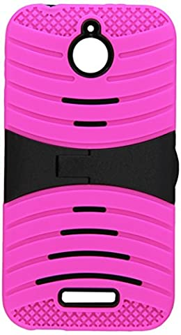 Asmyna Carrying Case for HTC 510 (Desire 510) - Retail Packaging - Black/Hot Pink Wave (Zte Warp Sync Rubber Phone Case)