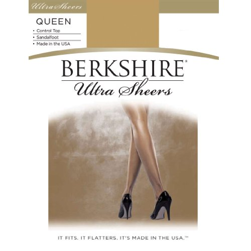 (Berkshire Women's Plus-Size Queen Ultra Sheer Control Top Pantyhose 4411, Fantasy Black, Queen Petite)
