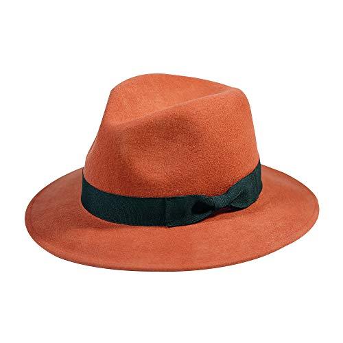 Wool Fedora Hat-Women's Felt Floppy Panama Hats Vintage Classic Ladies Wide Brim Cap's Band Accent (Brick ()