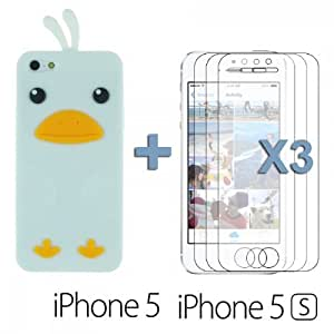 OnlineBestDigital - Chick Style Soft Silicone Case for Apple iPhone 5S / Apple iPhone 5 - White with 3 Screen Protectors
