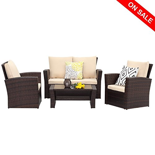 Wisteria Lane Outdoor Patio Furniture Set, 5 Piece Garden Rattan Sofa Wicker sectional Sofa Seat with Coffee Table,Brown (Frame Loveseat Seating Deep)