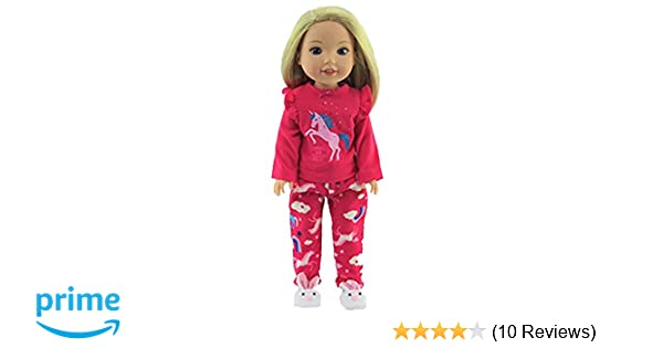 """Hot Pink Unicorn Nightgown Fits Wellie Wisher 14.5/"""" American Girl Clothes"""