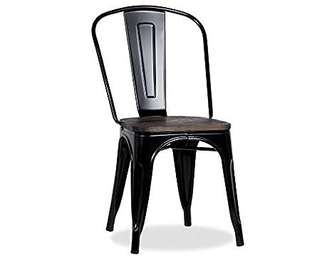 Set di 4 sedie in metallo nero e legno industriale industry mobile