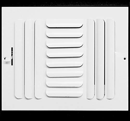 HVAC Premium 3-Way Curved Blade Supply Air Grille - Maximum Air Flow - HVAC Vent Cover, 10 x 8-Inch