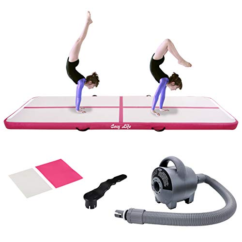 Inflatable Gymnastics Tumbling Training Mats Air Track with Electric Air Pump for Acrobatics Home Use Lawn Patio Park Beach Fitness Backflips Practice Yoga Taekwondo Exercise Mat (9.84ft3.28ft)