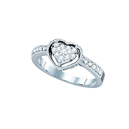 Jewels By Lux 14kt White Gold Womens Round Diamond Heart Cluster Ring 1/3 Cttw Ring Size 9.5