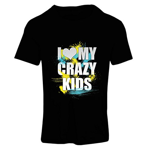 T Shirts for Women I Love My Crazy Kids - Unusual Ideas (XX-Large Black Multi Color)