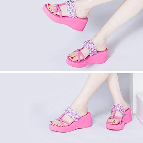 Non 37EU High Pink Feet Wedges Size Color Slippers Women's Muffin AMINSHAP Shoes Sandals slip Summer heeled With Platform Floral Yellow pxOEIwU