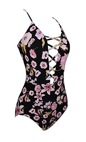 Floral Suit Cross Monokini Bretelles Femme Une À Bain Multicolore Bathing Pièce Angerella Swimsuit De Maillot Imprimé Strappy Zzqvqg