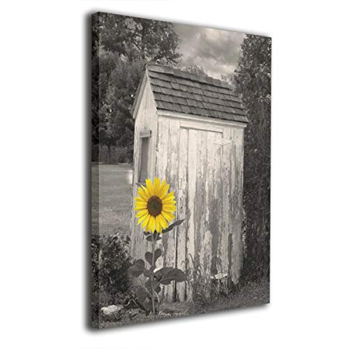 (Ale-art Rustic Vintage Outhouse Farmhouse Yellow Sunflower Wall Art for Living Room Bedroom Canvas Wall Art Decor Framed Canvas Artworks Prints Giclee Ready to Hang for Home Decoration 16